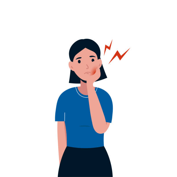 woman with toothache vector art illustration