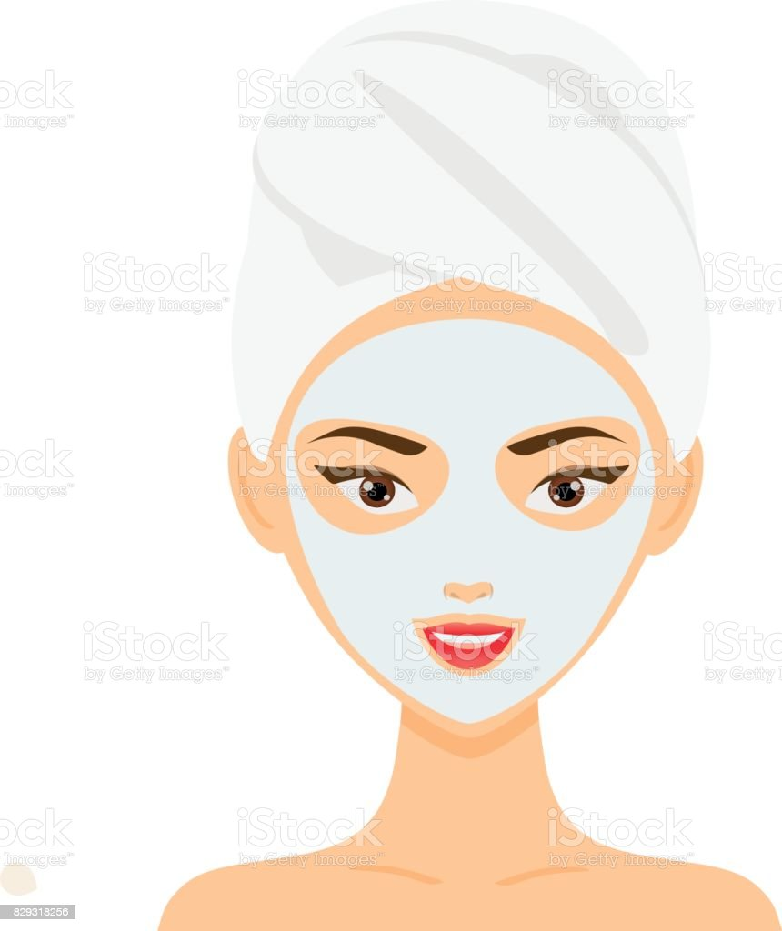 Woman with towel and cosmetic facial mask. vector illustration vector art illustration