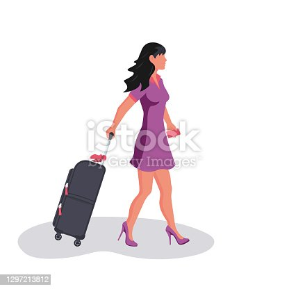 istock Woman with travel suitcase. Female with a luggage bag 1297213812