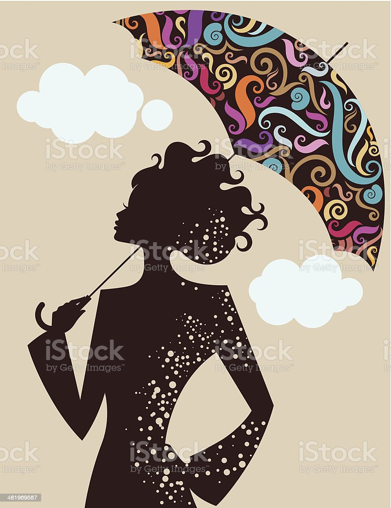 Woman with umbrella. royalty-free stock vector art