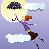 Woman flies on an umbrella in the sky. Vector illustration in purple colors