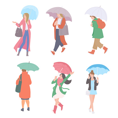 Woman with umbrellas in rain in different autumn casual clothes of urban style. Vector flat set of isolated characters on a white background.
