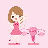 woman smile and thumb up with uterus on the pink background