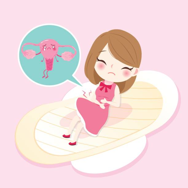 woman with uterus cartoon woman with uterus health concept on pink background fallopian tube stock illustrations
