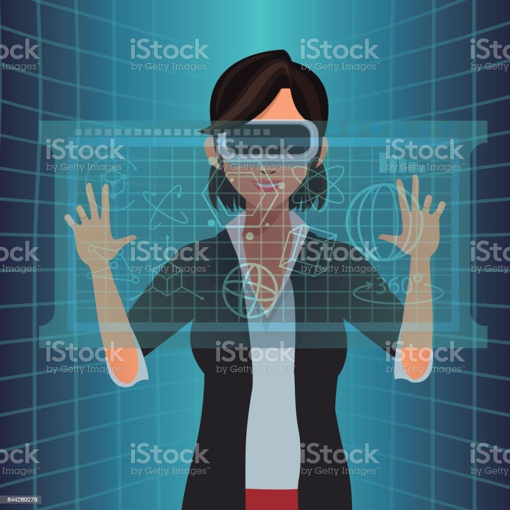 Mujer Con Vr Gafas Toque Diagrama Digital - Arte vectorial de stock ...