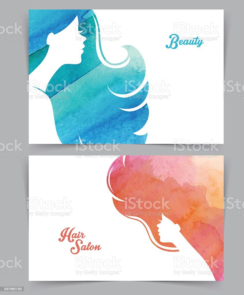 Woman with watercolor hair vector art illustration