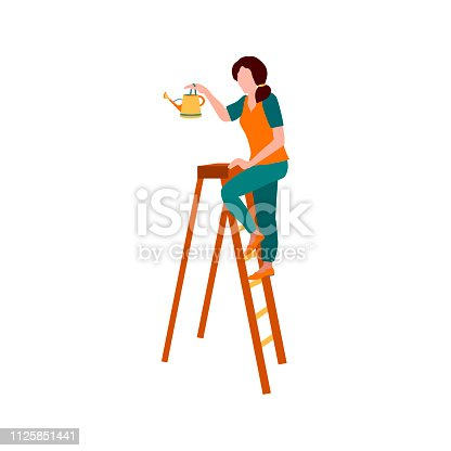 Woman with watering can on ladder. Woman - gardener. Vector cartoon illustration isolated on the white background.