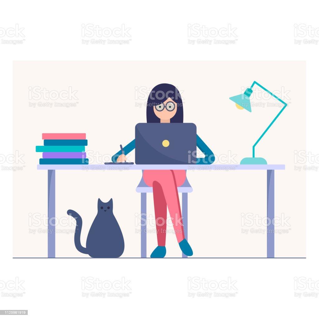 Woman Work On The Laptop Vector Illustration Stock Vector