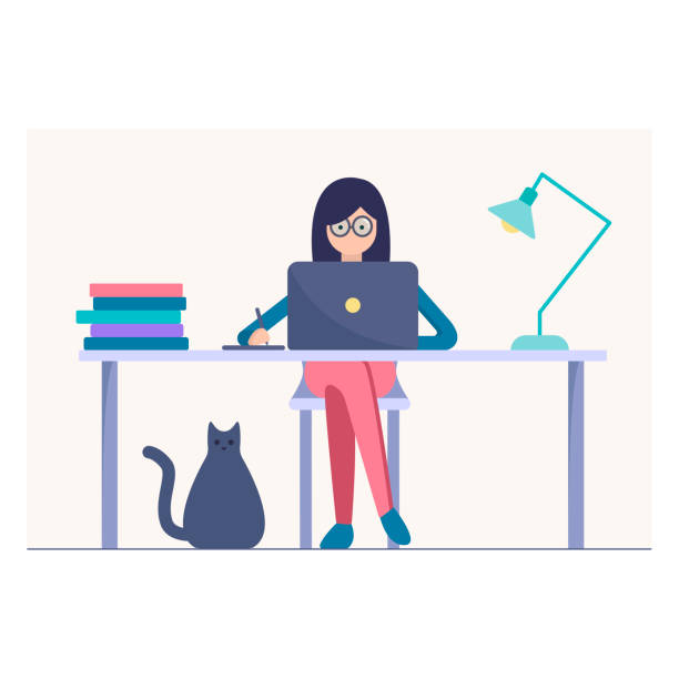 woman work on the laptop vector illustration - working from home stock illustrations