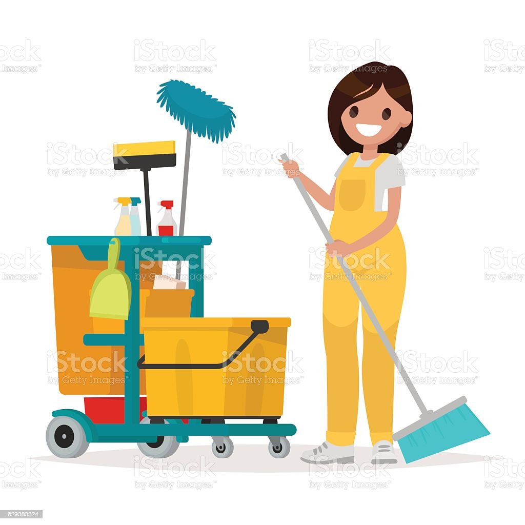 Woman worker of cleaning service is holding a mop. Vector vector art illustration