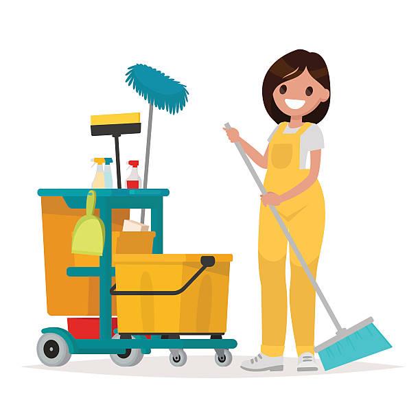 illustrazioni stock, clip art, cartoni animati e icone di tendenza di woman worker of cleaning service is holding a mop. vector - addetto alle pulizie