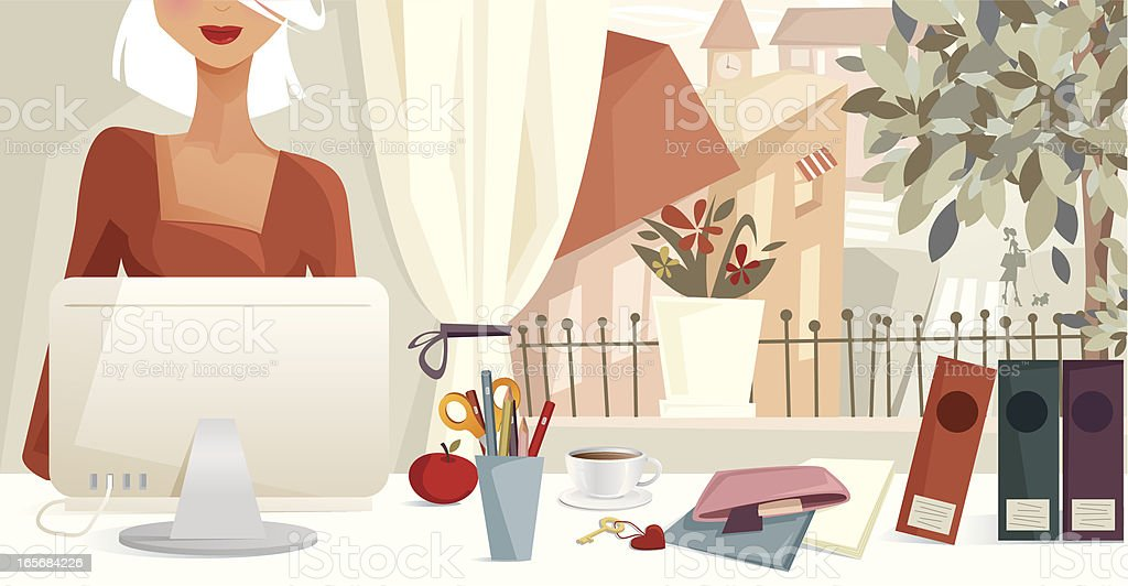 Woman Working At Computer With Suburban Window View vector art illustration