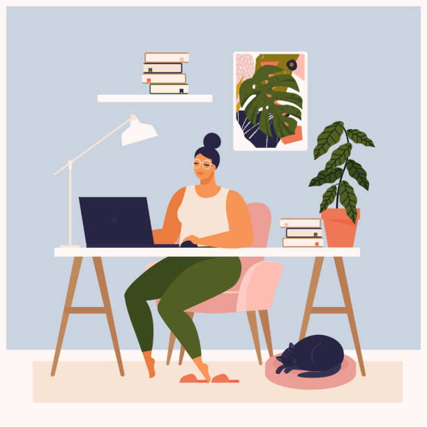 Woman working at her desk at home. She has a lot of work. Woman working with laptop at her work desk and testing ui and ux. Vector illustration of student studying at home. vector art illustration