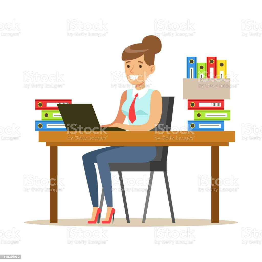 Woman Working At Her Desk With Computer And Folders Part Of Office