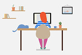 istock Woman working at home on a personal computer in the room 1215127910