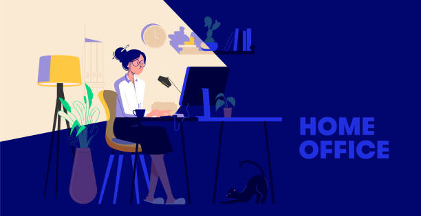 ilustrações de stock, clip art, desenhos animados e ícones de woman working from home at night. woman sitting at desk in dark room, looking at computer screen. freelancer or blogger home office concept. flat design vector illustration - remote work