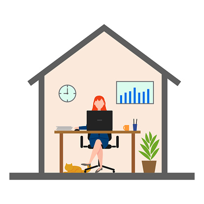 Woman working from home front view