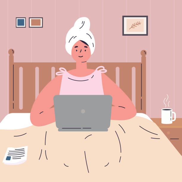 woman working from home on laptop.remote work - small business saturday stock illustrations