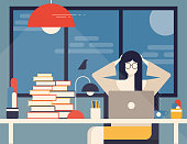 Woman working in the office, Flat vector illustration