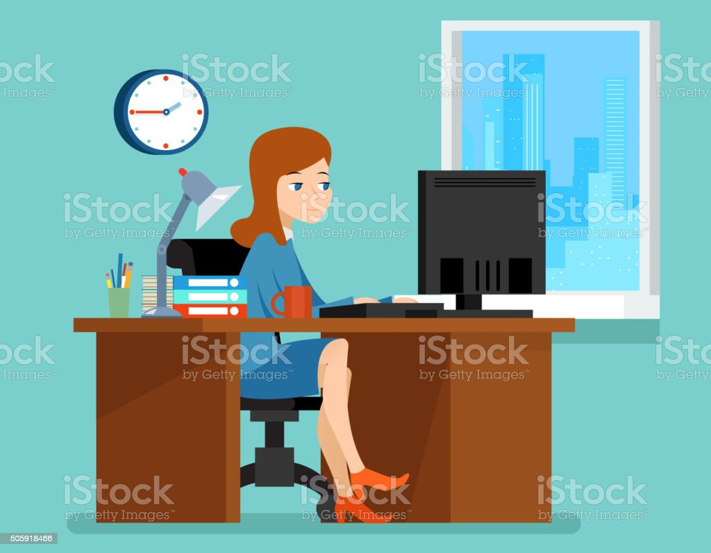 Ufficio Scrivania Jobs : Donna che lavora alla scrivania in ufficio con computer a