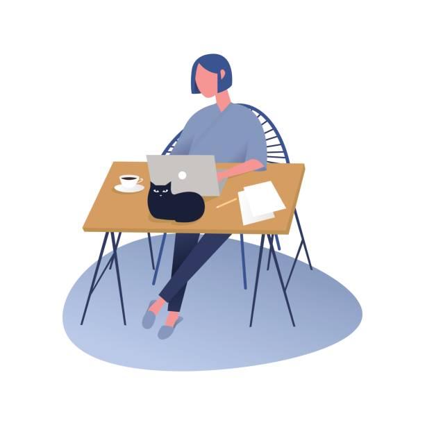Mujer que trabaja en un equipo portátil mientras está sentado en la mesa en casa con taza de café y documentación. Ilustración de vector - ilustración de arte vectorial