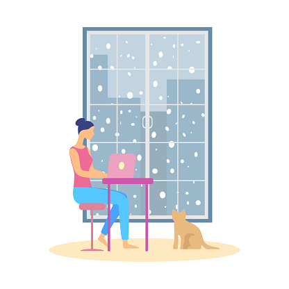 Woman working on laptop at home, it is snowing outside the window. Vector