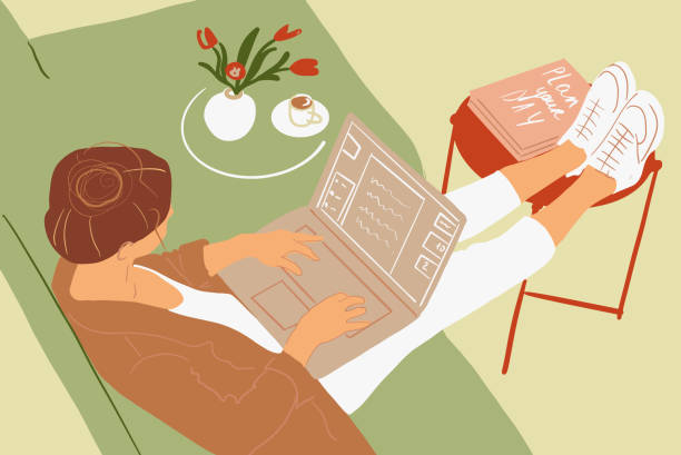 Woman working on laptop at home vector art illustration