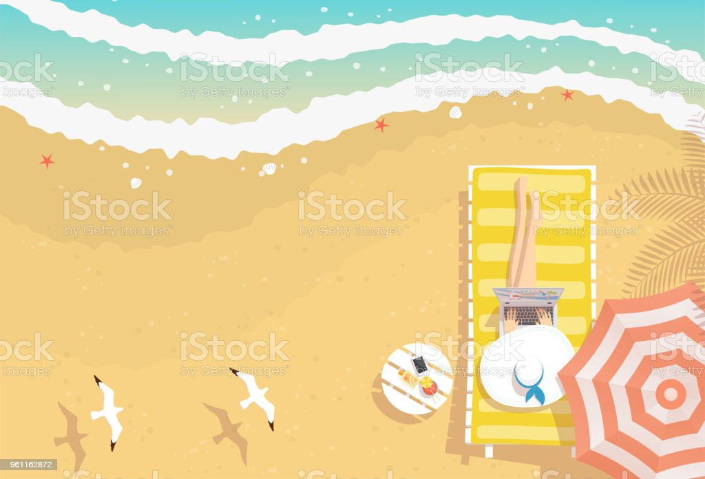Woman working on the beach with laptop royalty-free woman working on the beach with laptop stock illustration - download image now