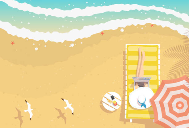 Woman working on the beach with laptop vector art illustration