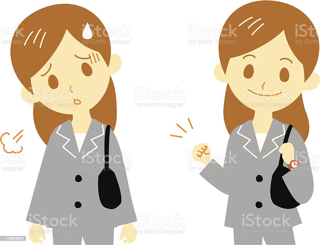 woman working tired cheer up vector art illustration