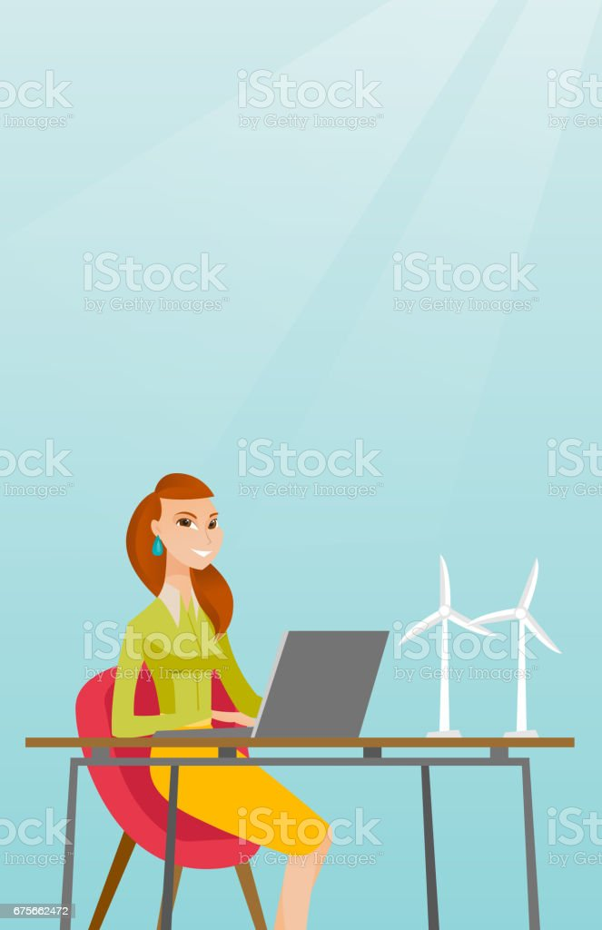 Woman working with model of wind turbines royalty-free woman working with model of wind turbines stock vector art & more images of alternative energy