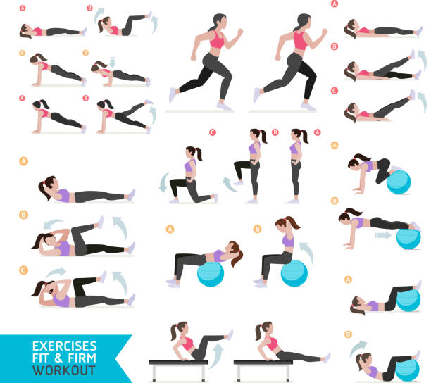 Woman workout fitness, aerobic and exercises. vector art illustration