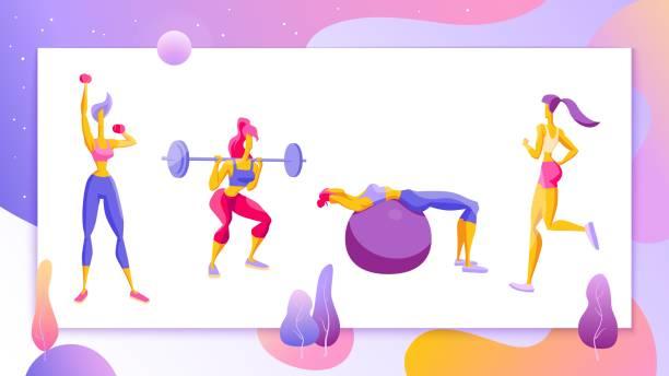 bildbanksillustrationer, clip art samt tecknat material och ikoner med kvinna workout fitness, pilates, aerob uppsättning flickor gör övning, jogging vektor - jogging hill