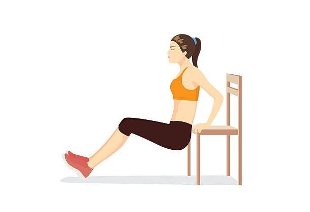 stockillustraties, clipart, cartoons en iconen met woman workout with chair for body firming. - buigen lichaamsbeweging