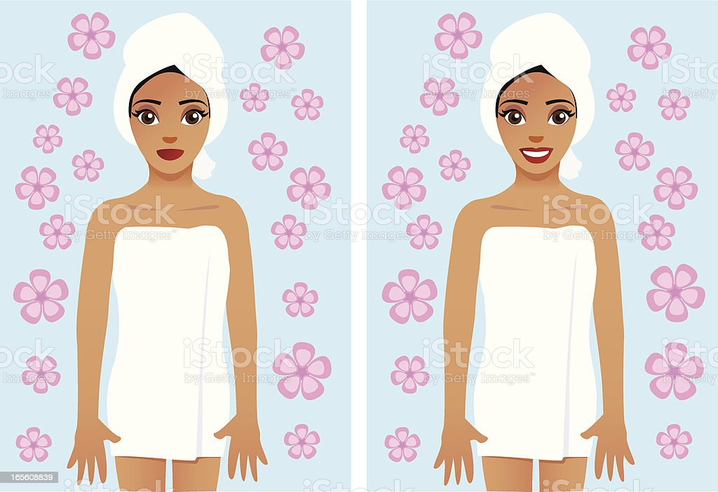 Woman wrapped in bath towel royalty-free stock vector art
