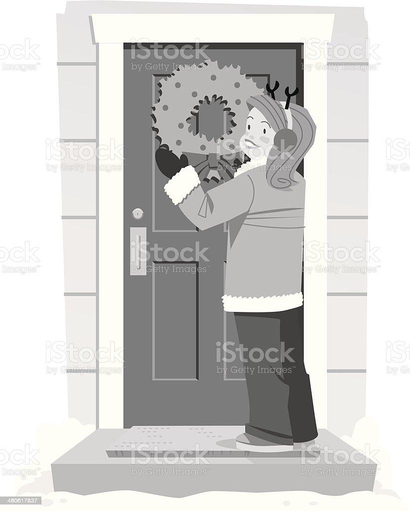 Woman Wreath Door royalty-free stock vector art