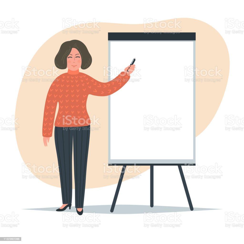 Frau schreibt auf Flip-Chart. - Lizenzfrei Berufliche Beschäftigung Vektorgrafik
