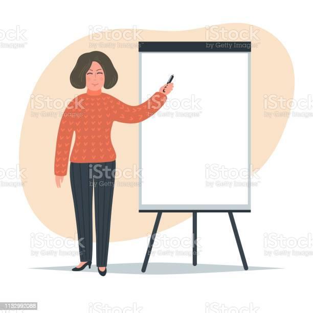 Frau Schreibt Auf Flipchart Stock Vektor Art und mehr Bilder von Berufliche Beschäftigung
