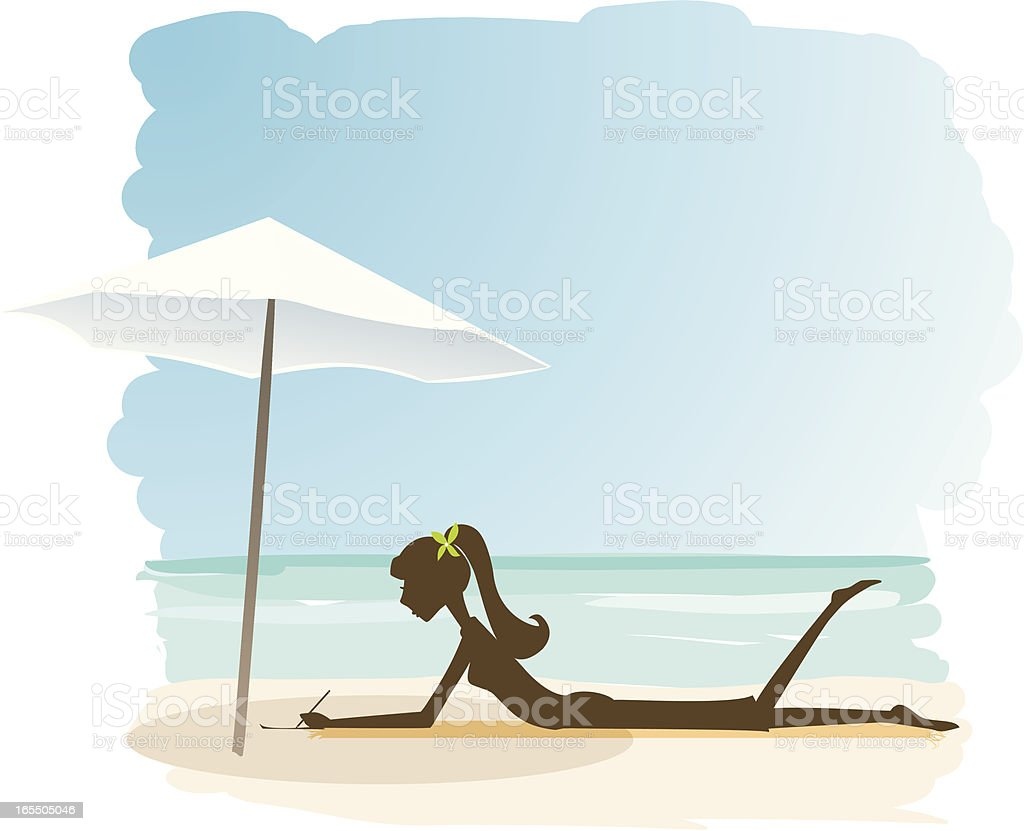 Woman Writing on the Beach royalty-free stock vector art