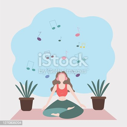 istock Woman yoga at home vector background illustration. 1270835204