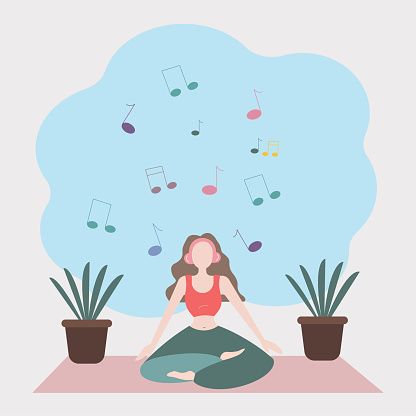 Woman yoga at home vector background illustration.
