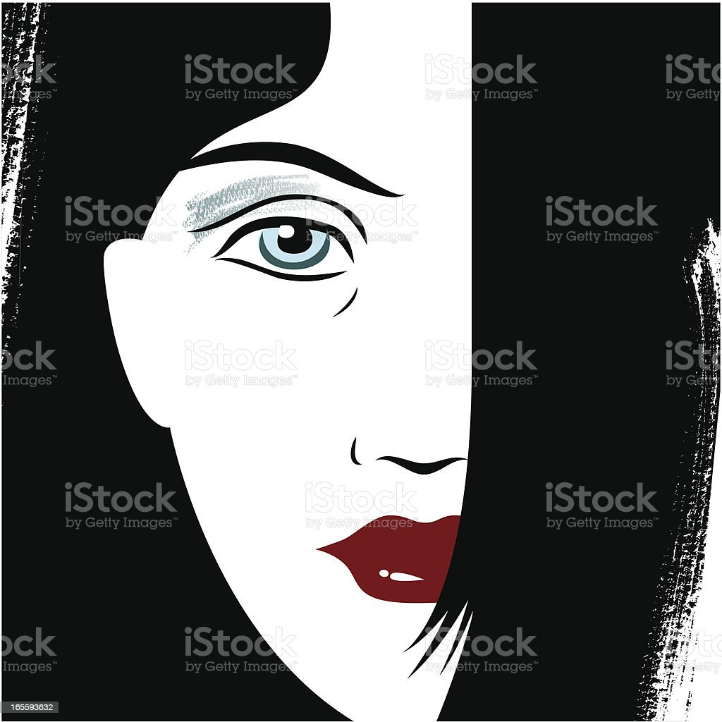 Woman's Face vector art illustration
