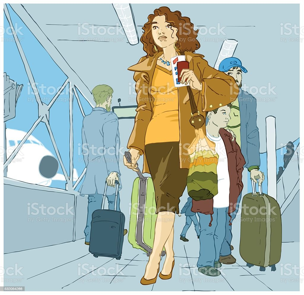 woman_at_the_airport vector art illustration