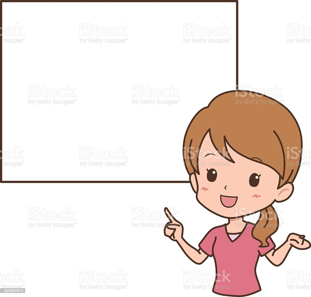 woman_guide vector art illustration