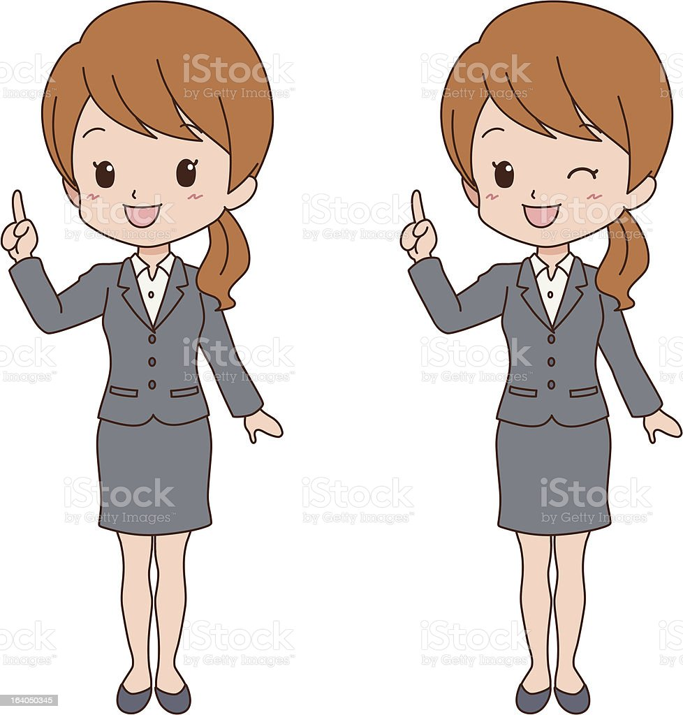 woman_point vector art illustration