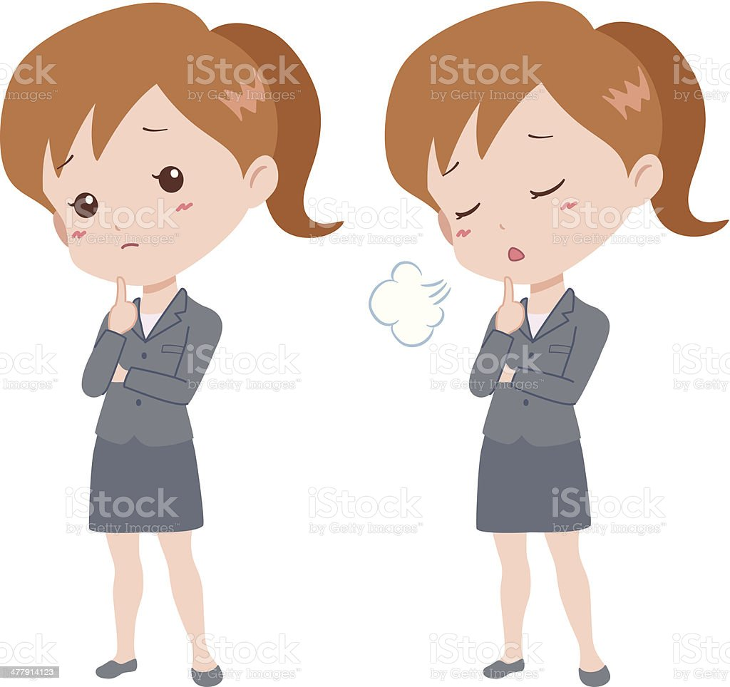 woman_think vector art illustration