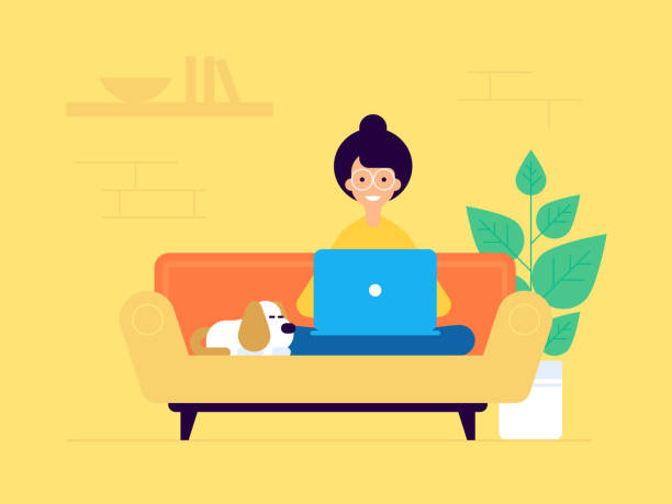 woman-freelancer copy woman freelancer vector flat design character. Woman seating on the sofa with the laptop and the little funny dog. Modern working space. Modern flat design style. online shopping stock illustrations