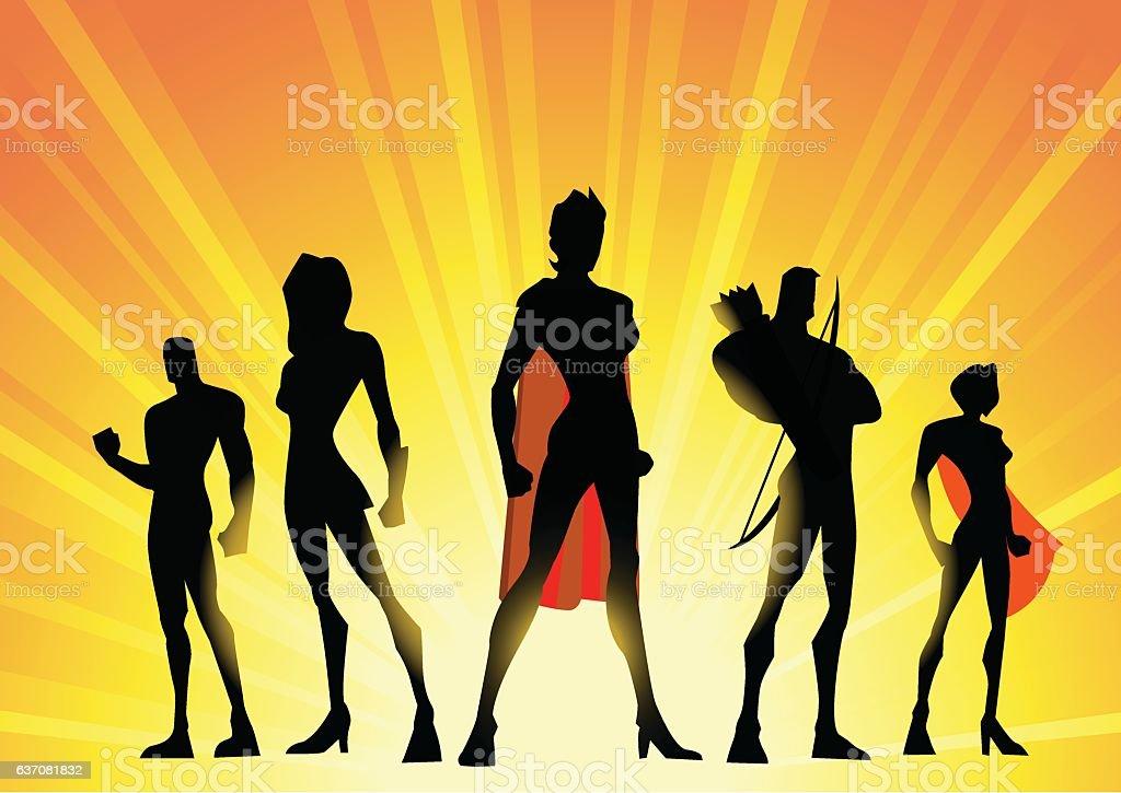 Woman-led Superhero Team vector art illustration