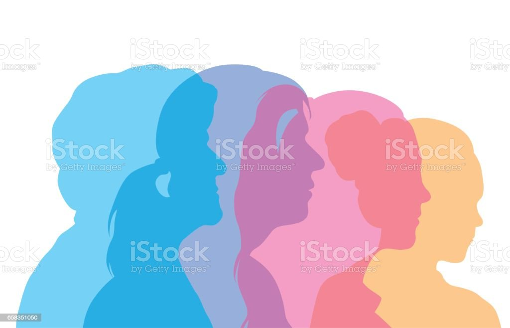 Woman's Aging Process Profile Heads vector art illustration