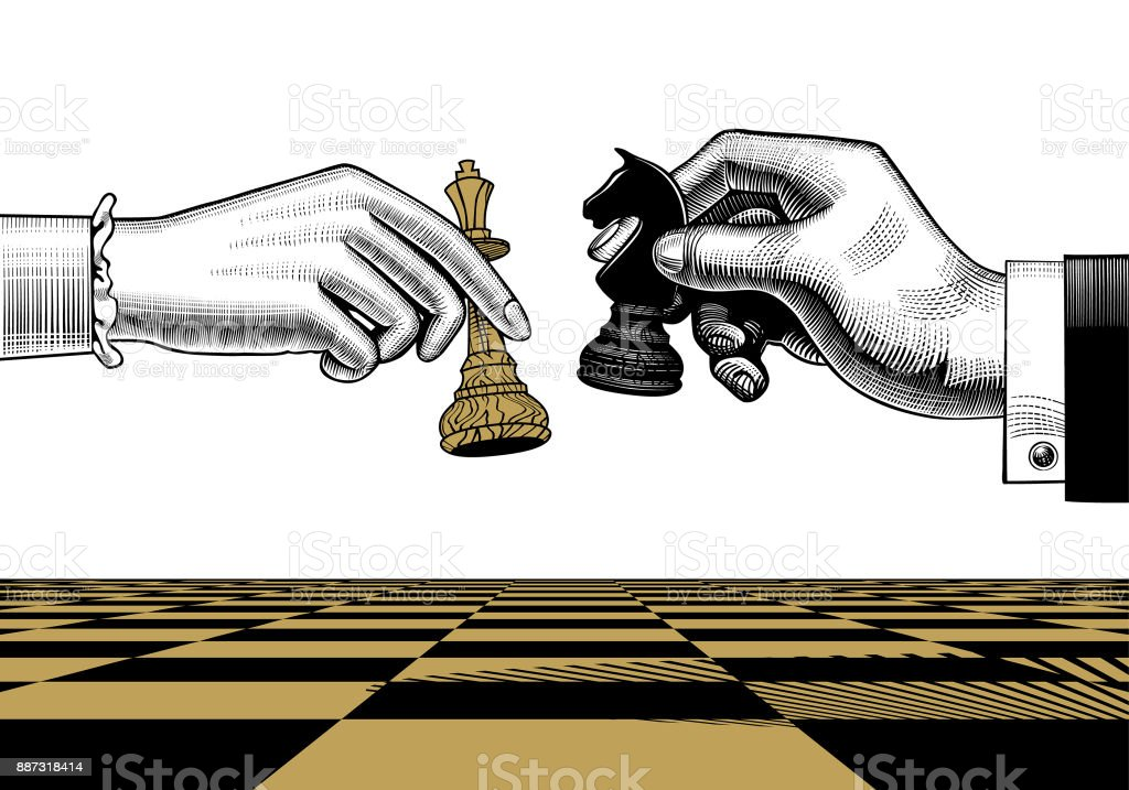 Womans And Mans Hands With King And Horse Chess Pieces ...